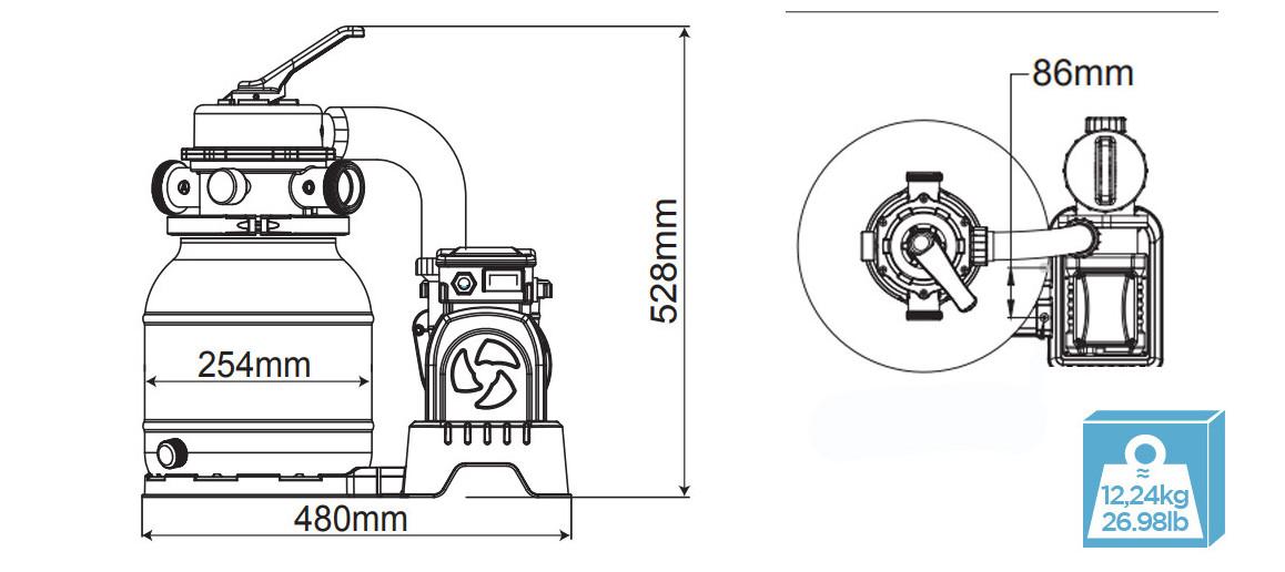 dimensions et poids du filtre à sable Flowclear Bestway 6m3