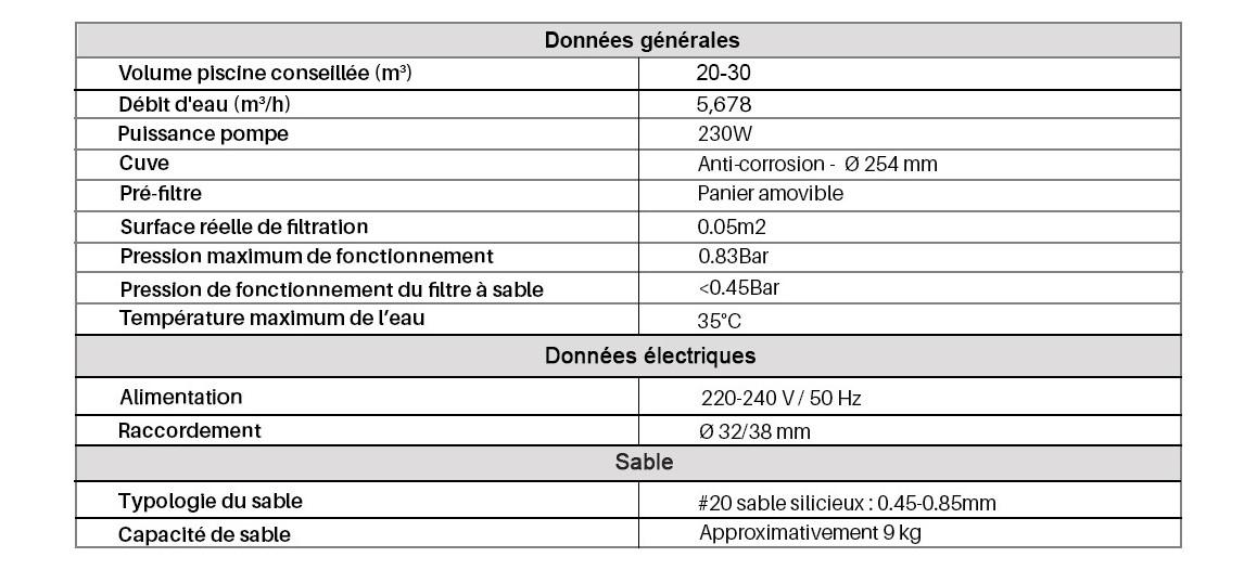 caractéristiques du filtre à sable Flowclear Bestway 6 m3