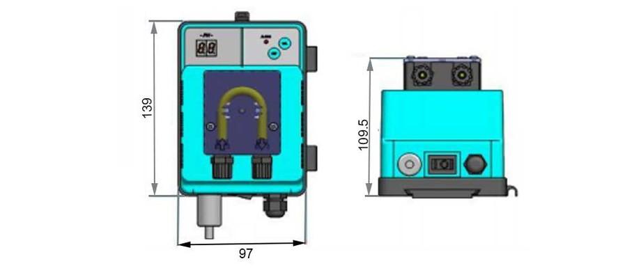 dimension du régulateur automatique de pH de piscine Speedy