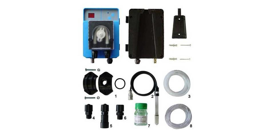 accessoires fournis avec le régulateur automatique pH de piscine Speedy