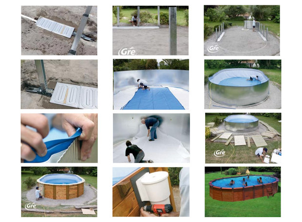 piscine san marina revetement bois- installation