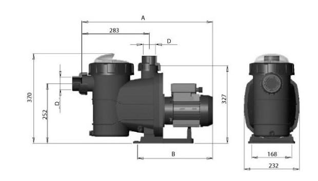 pompe filtration astral glass plus - dimensions