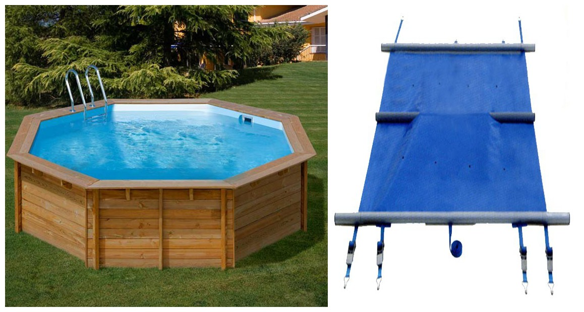 bâche à barres pour piscine bois octogonale woodfirst original