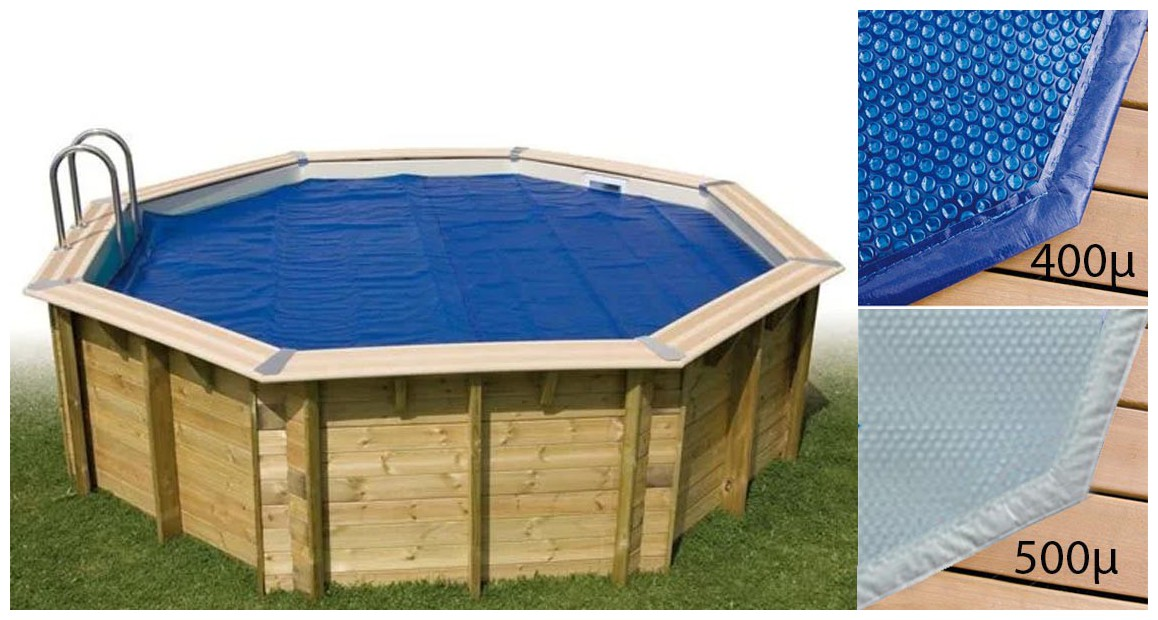 bâche isotherme pour piscine bois woodfirst original hexagonale en situation