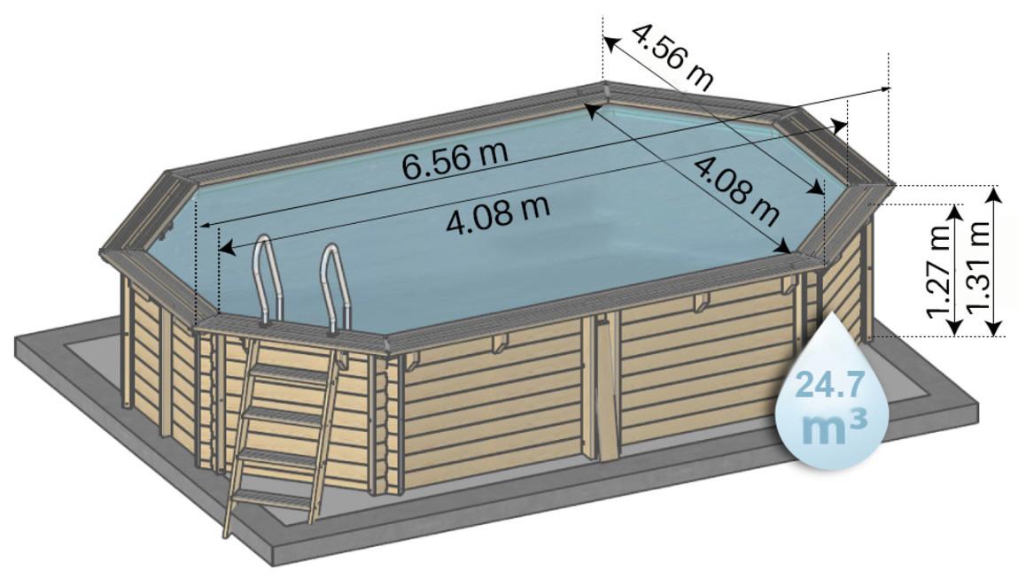 schéma des dimensions de la piscine bois woodfirst original octogonale allongé 656