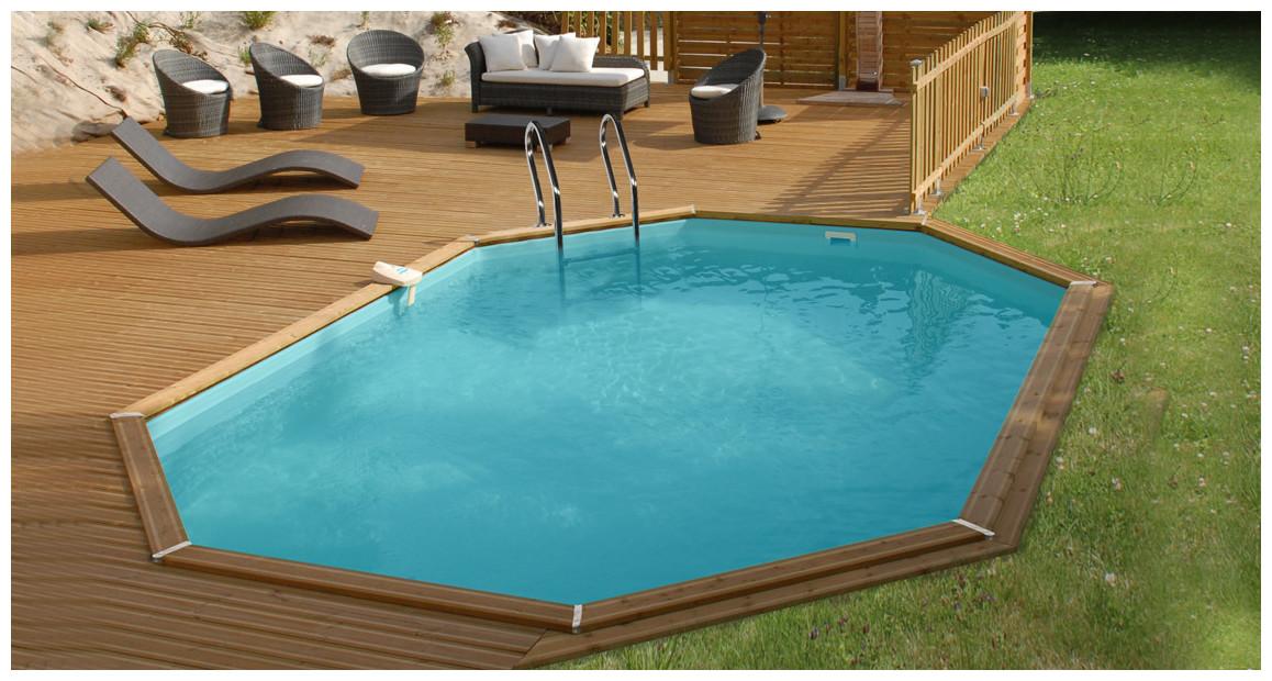 piscine bois octogonale allongée Woodfirst Original 656 par 456