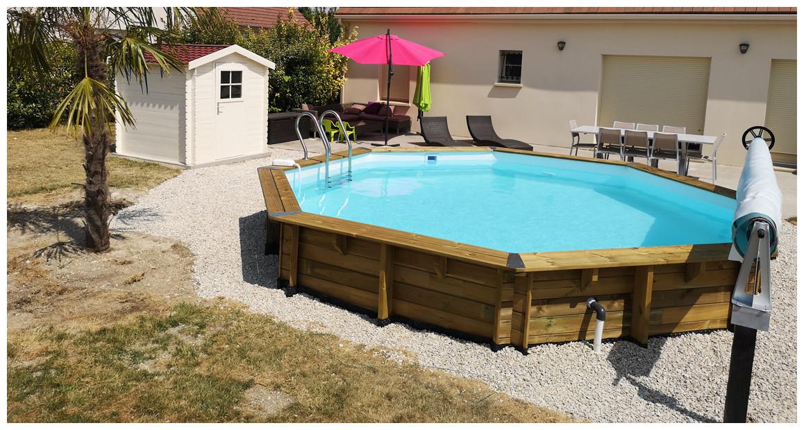 piscine bois octogonale woodfirst original Ø428 par 117 cm en situation