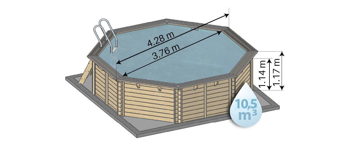 Dimensions de la piscine bois woodfirst original octogonale 428
