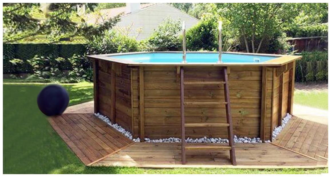 kit piscine bois woodfirst original octogonal 428 en situation