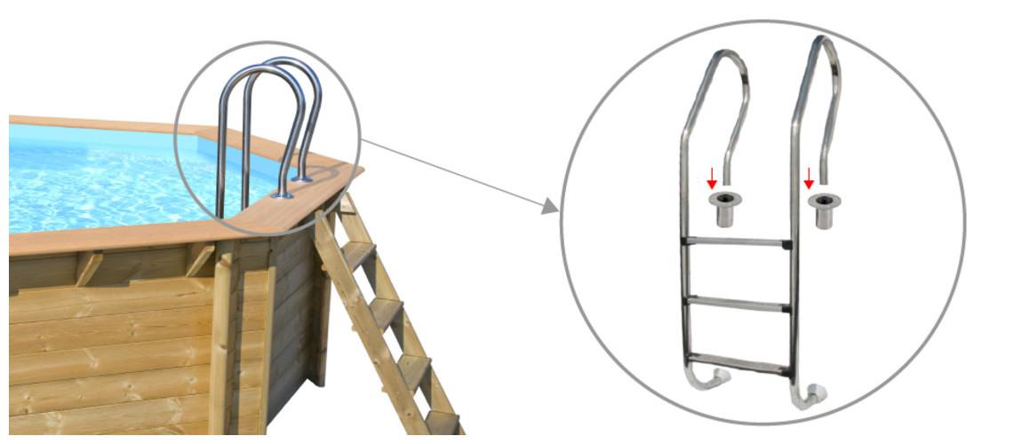 échelle d'accès en inox pour piscine bois woodfirst original octogonale 428