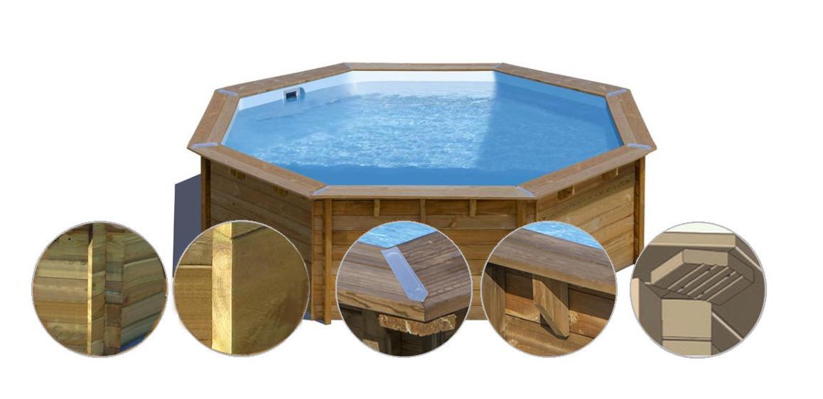 structure de la piscine bois woodfirst original octogonale 428