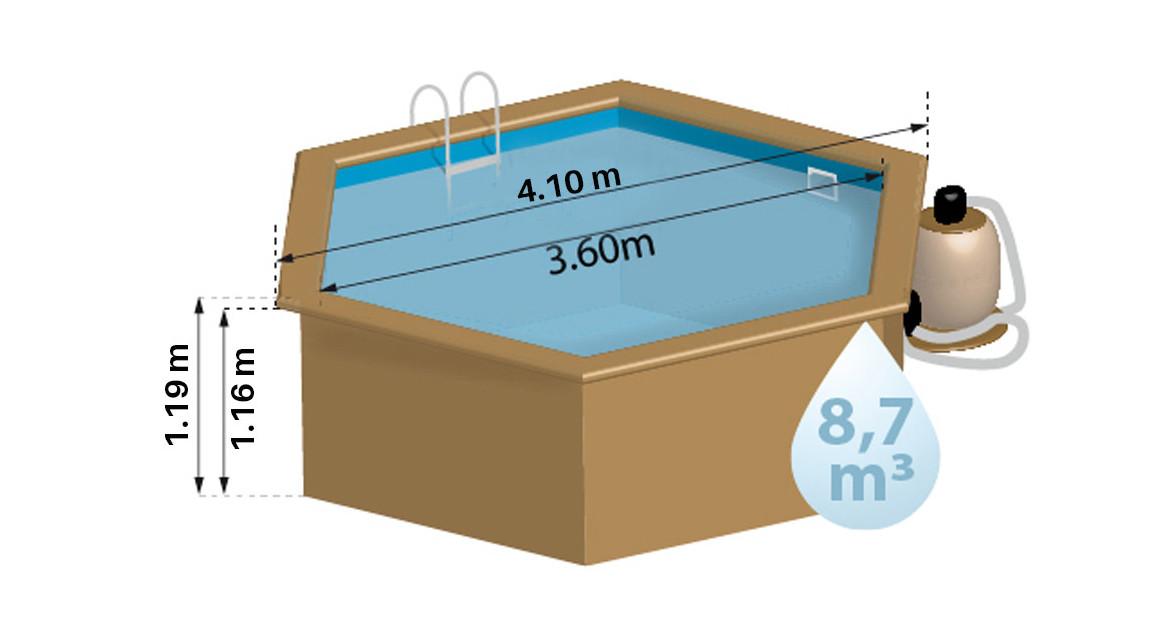 dimensions de la piscine bois woodfirst vanille premium