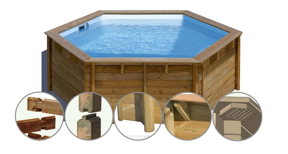 structure de la piscine bois woodfirst vanille premium