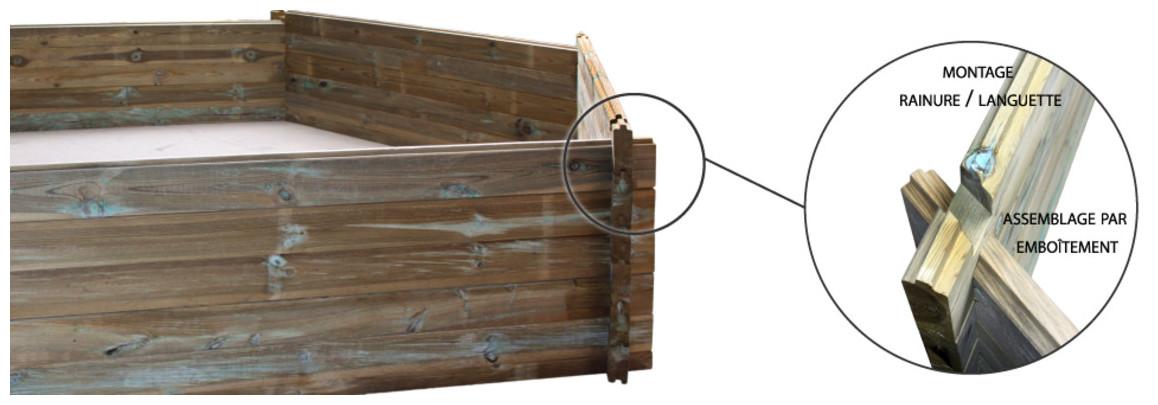montage de la structure bois de la piscine bois woodfirst original vanille premium