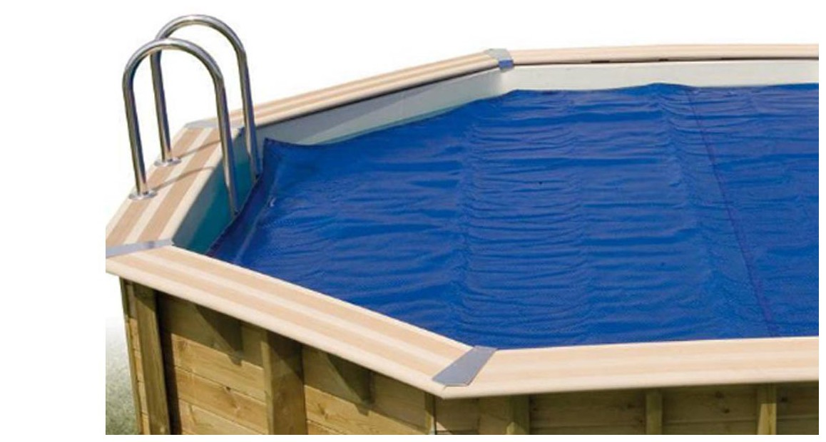 bâche à bulles 400 microns pour piscine bois Woodfirst Vanille Premium