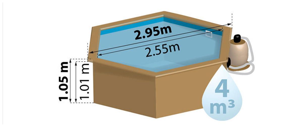 dimensions de la piscine bois sunbay lili ronde Ø2,95 m x H.1,05 m