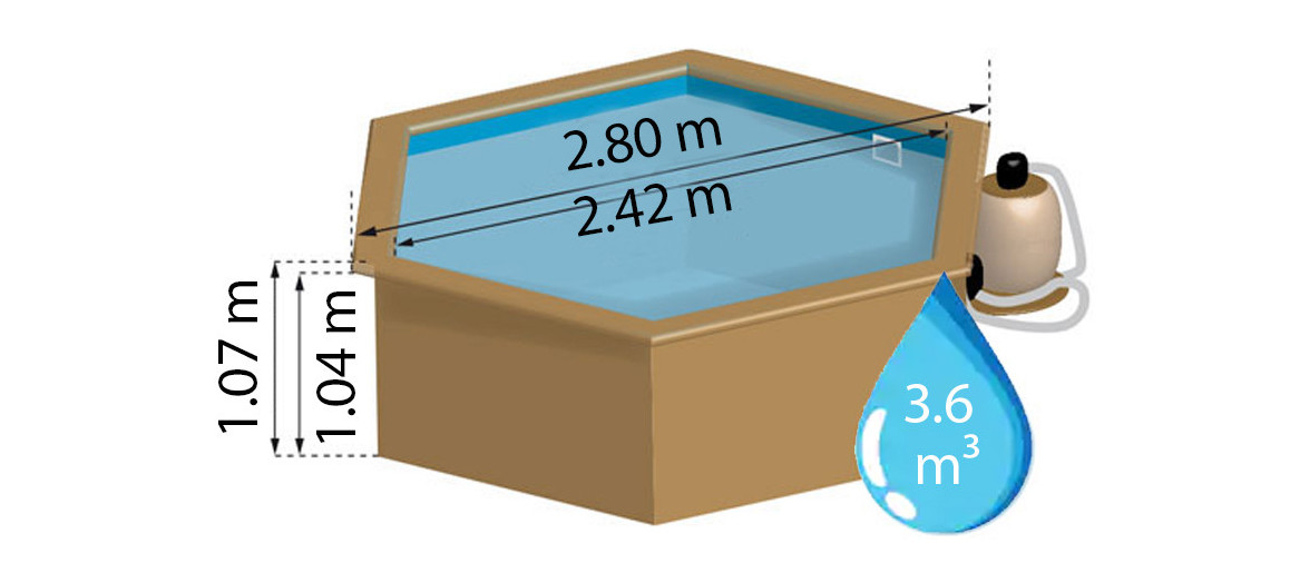 dimensions de la piscine bois sunbay lili ronde Ø2,80 m x H.1,07m