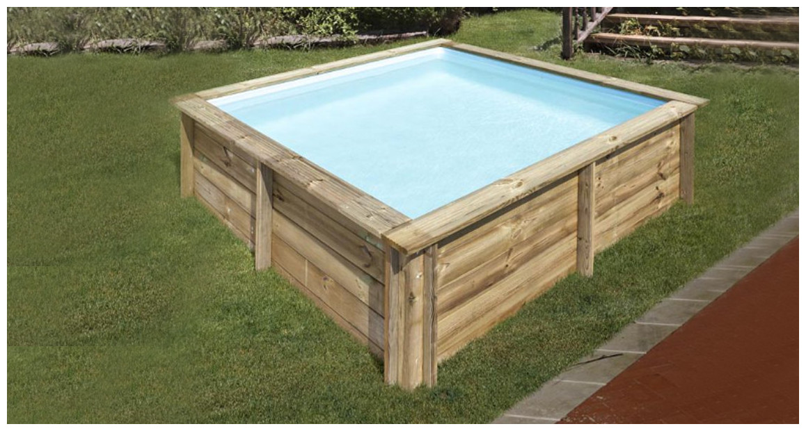 kit piscine bois carrée city par sunbay en situation