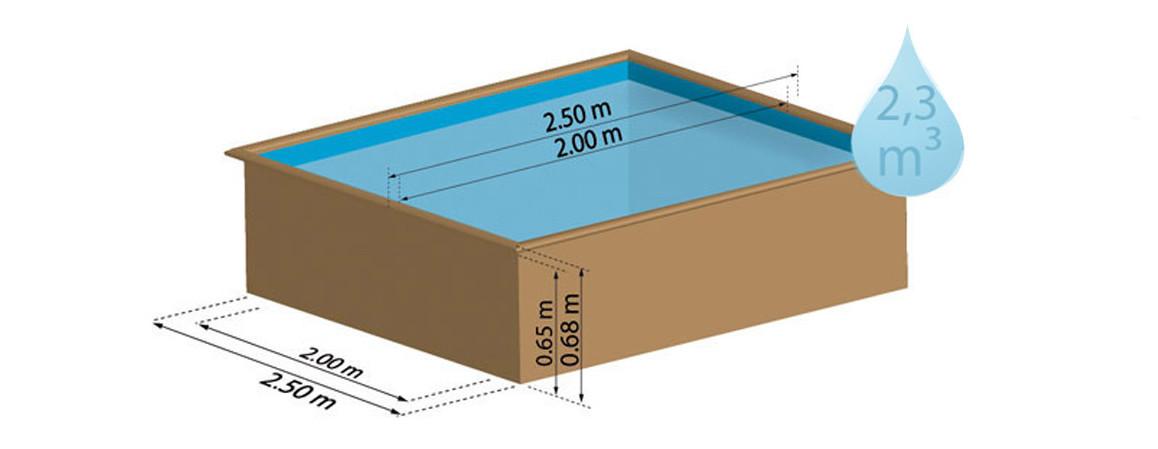 dimensions de la piscine bois carrée city sunbay