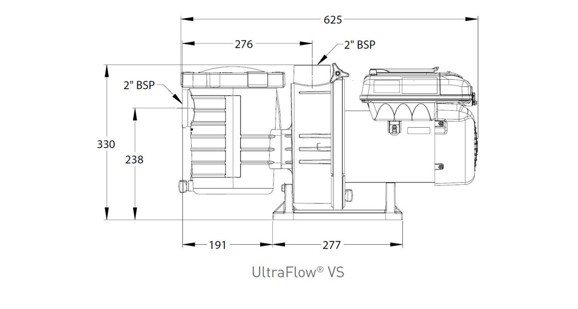 dimensions de la pompe de filtration à vitesse variable ultra flow