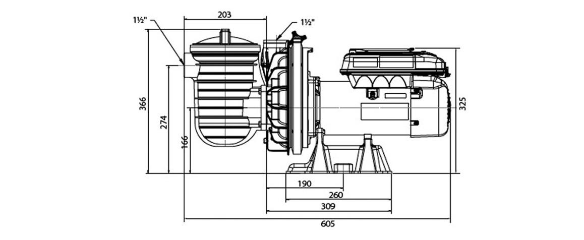 dimensions de la pompe de filtration à vitesse variable starite S5P2R