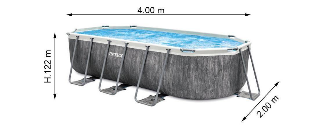 dimension de la piscine tubulaire intex baltik ovale