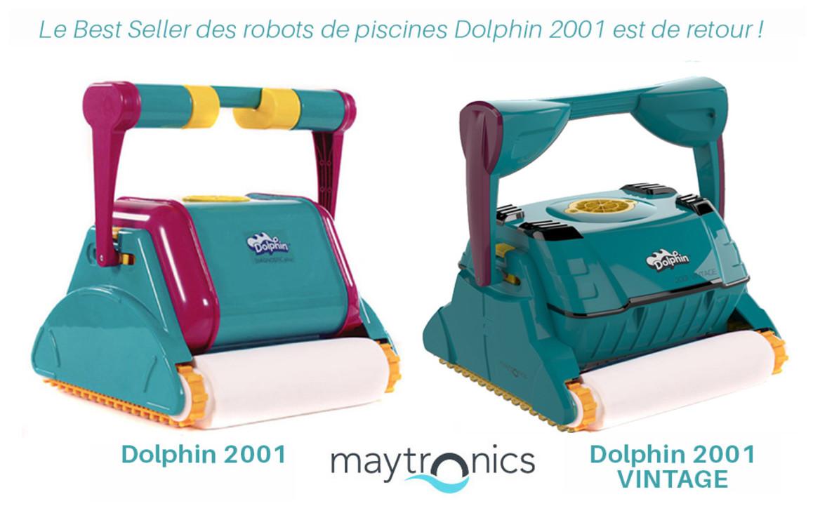 comparatif des robots de piscines dolphin 2001 et dolphin 2001 vintage avec brosses mousses