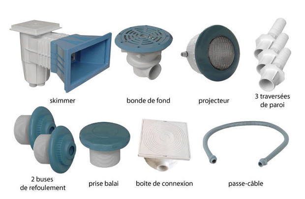 Pieces de construction piscine b ton kit bleu 8 4 m for Piscine kit beton