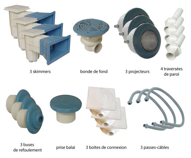 El ments de construction bleus piscine b ton 13 6 m for Piscine kit beton