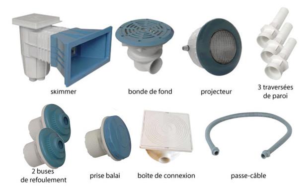 Kit pièces à sceller bleues piscines liner - N°1