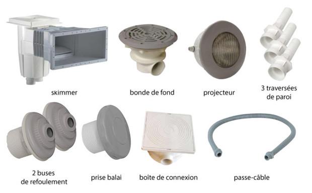 Kit pièces à sceller gris pour piscines liner - N°1