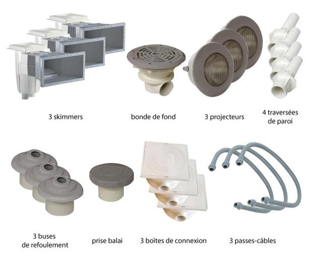 Kit pièces à sceller grises piscines béton - N°3