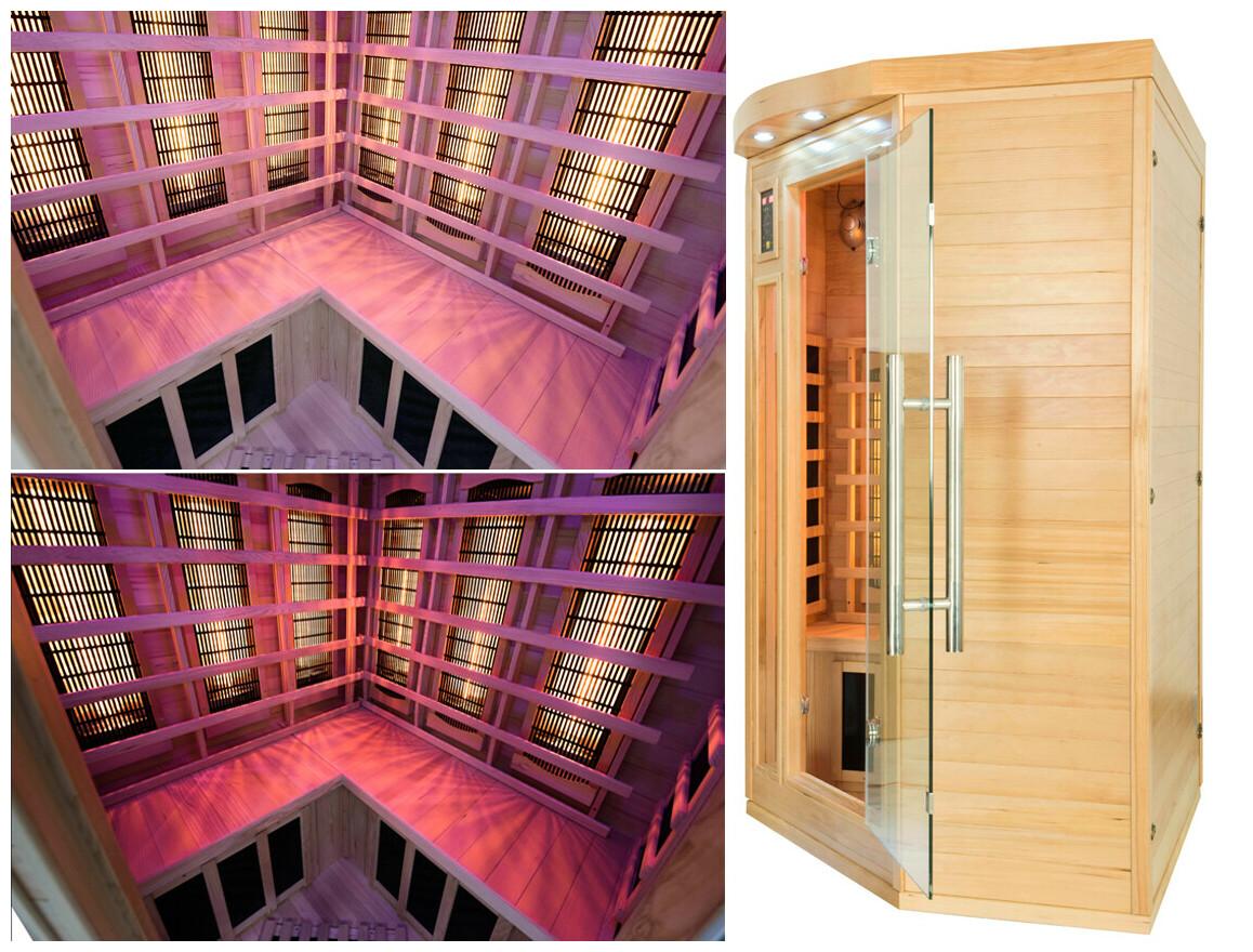 zoom sur le sauna angulaire apollon quartz