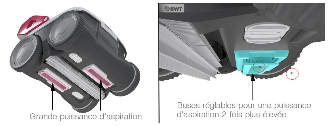 puissance d'aspiration du robot de piscine B200 BWT