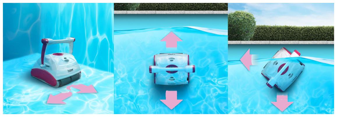 robot piscine d200 nettoyage fond parois ligne d'eau des bassins jusqu'à 12 m