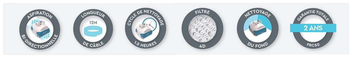 logo caractéristiques du robot aquatron bwt frc50