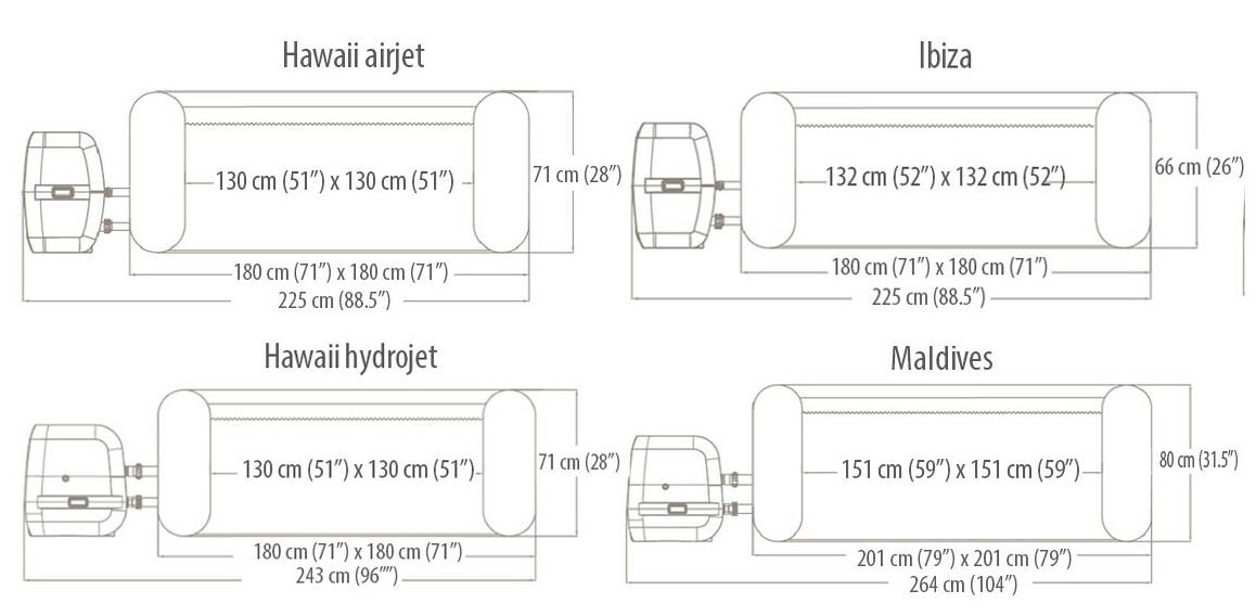 dimensions des spas bestway carrés