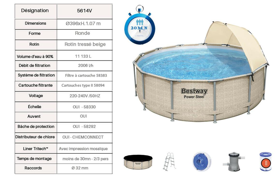 caractéristiques de la piscine hors sol tubulaire power steel Bestway en rotin