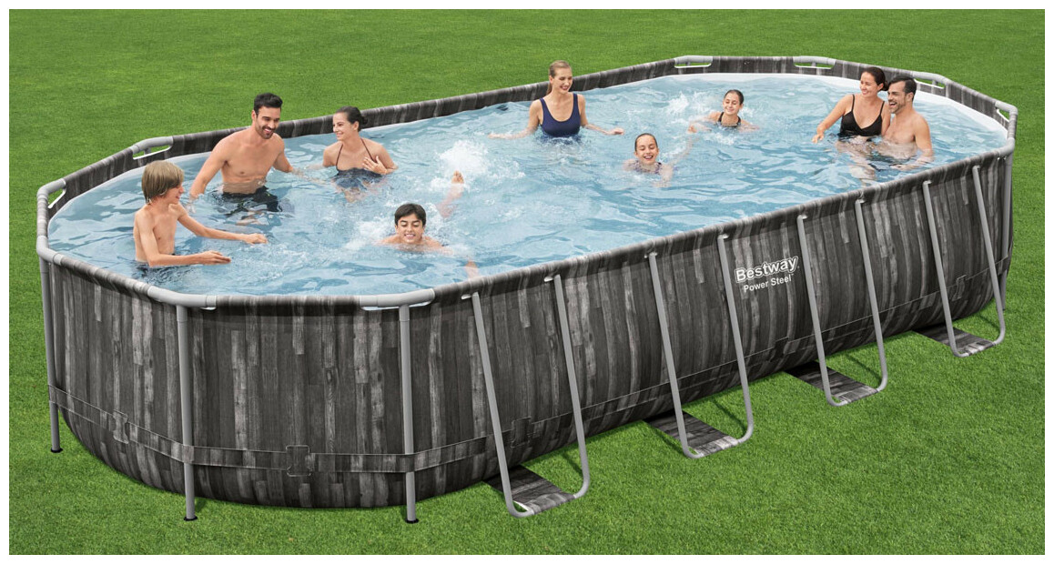 piscine tubulaire bestway power steel finition bois en situation