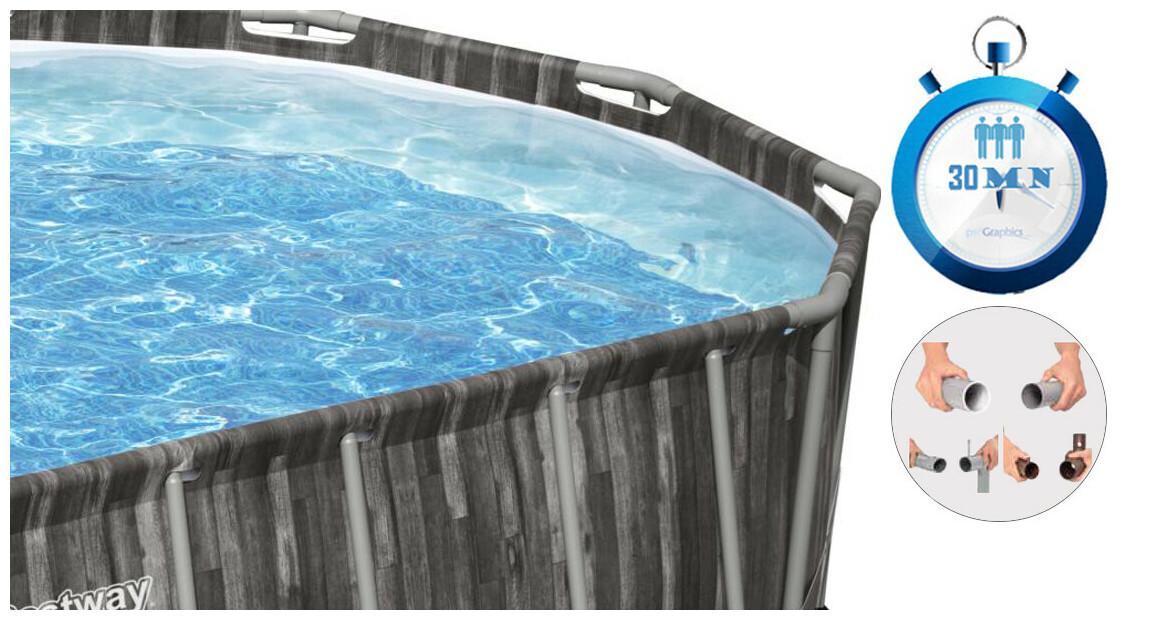descriptif de la piscine hors sol tubulaire bestway power steel décor bois