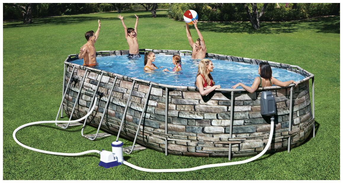 piscine hors sol power steel aspect pierre en situation