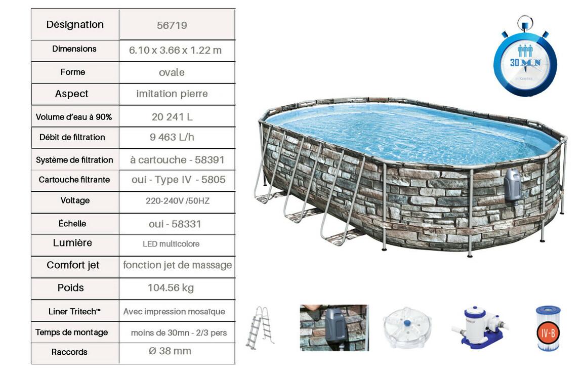équipement de la piscine bestway power steel aspect pierre