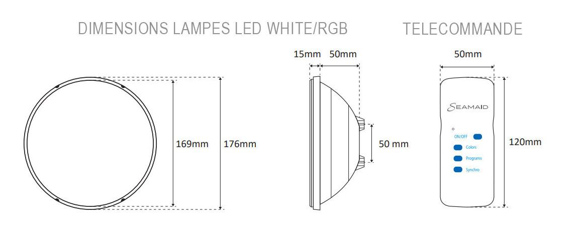 dimensions de la lampe led par56 standard pour projecteur piscine