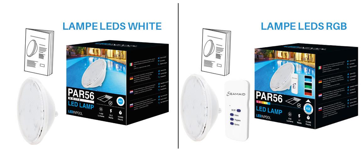 contenu avec la lampe led par56 standard pour projecteur universelle de piscine