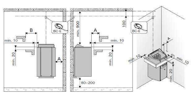 poele harvia vega compact - schema montage et distances dans cabine sauna vapeur