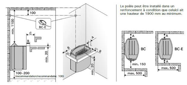 vega - poele harvia pour sauna vapeur - distances de securité