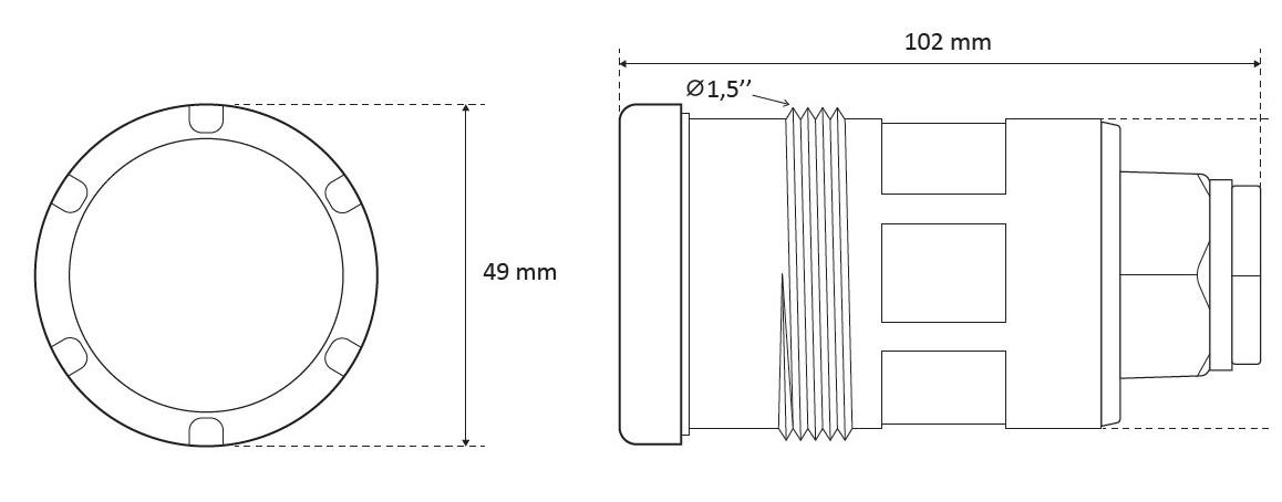dimensions du projecteur tubulaire led seamaid