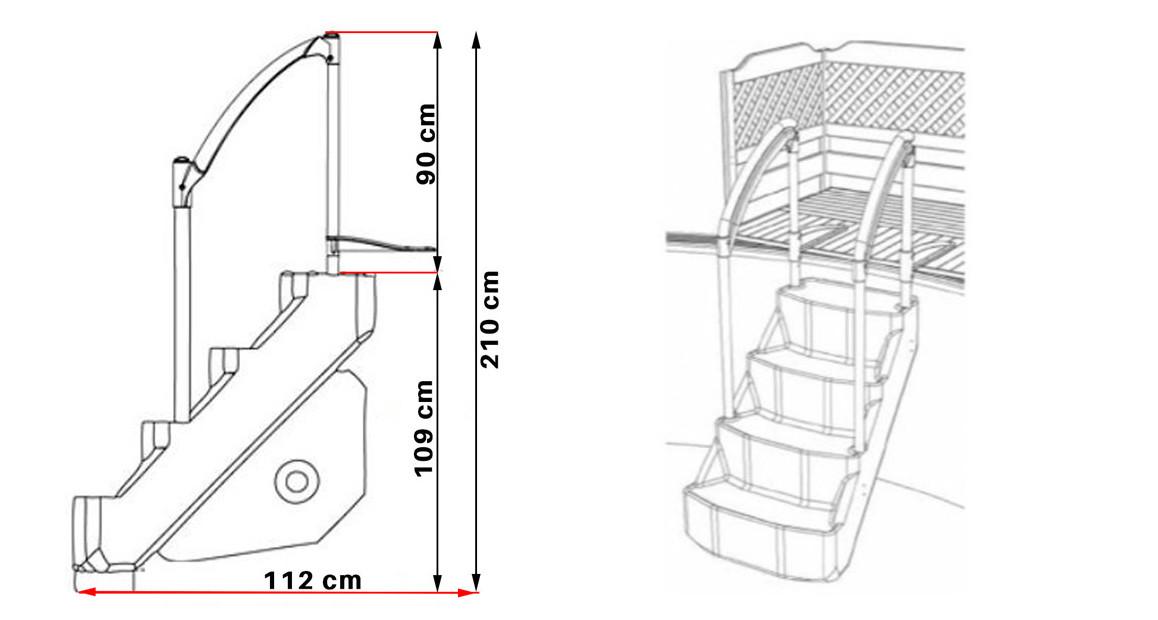 dimensions de l'escalier pour piscine voie royale