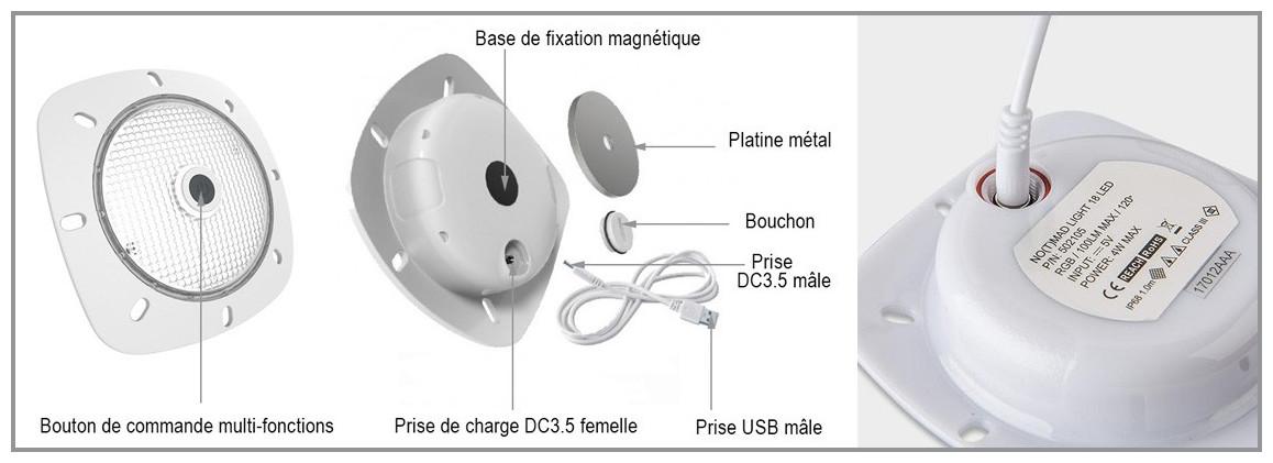 schéma descriptif du projecteur led rechargeable et aimanté notmad