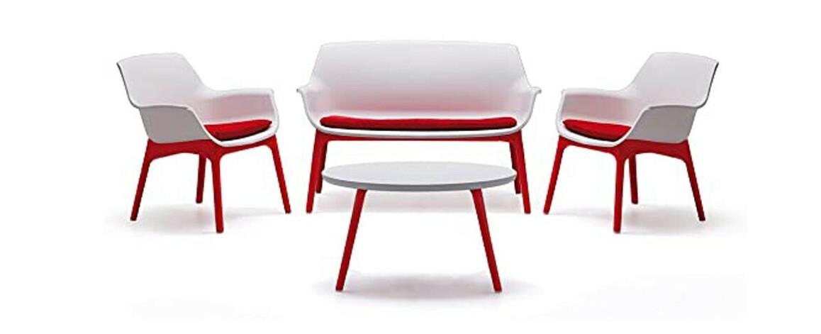 salon de jardin bas rouge 4 places en polypropylène Marinello Hémisphère
